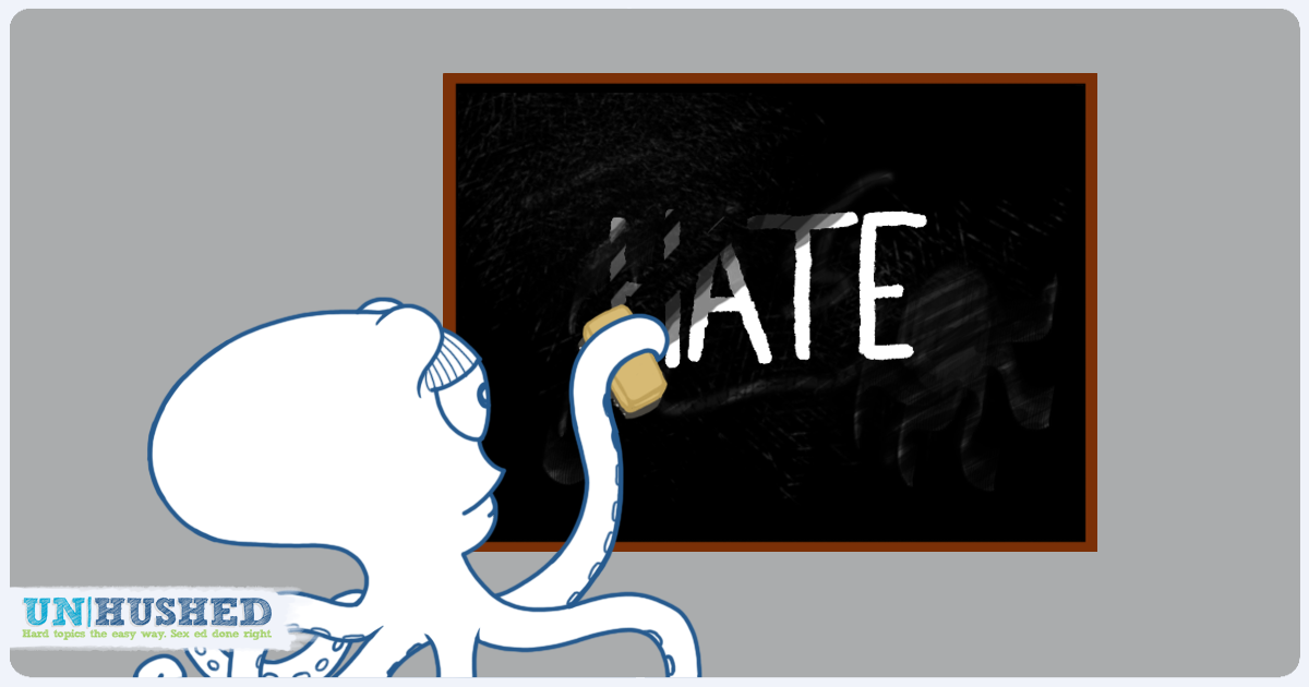 Octopus erasing the word hate off of a chalk board.